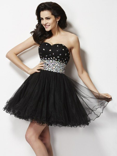 A-Line/Princess Sweetheart Sleeveless Beading Sequin Short Elastic Woven Satin Homecoming Dresses