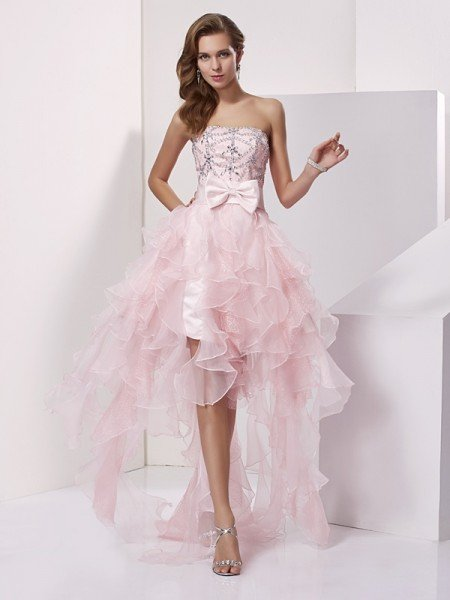 A-Line/Princess Strapless Sleeveless Beading High Low Organza Homecoming Dresses