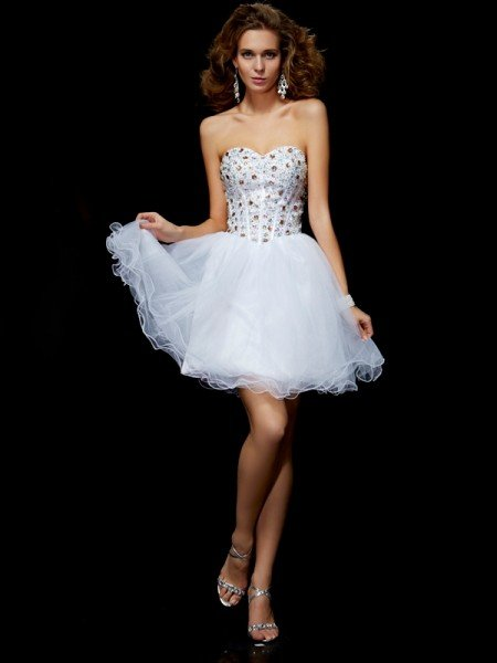 Sheath/Column Sweetheart Sleeveless Crystal Short Elastic Woven Satin Homecoming Dresses