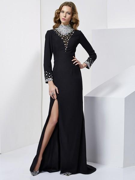 Sheath/Column High Neck Long Sleeves Rhinestone Long Chiffon Dresses