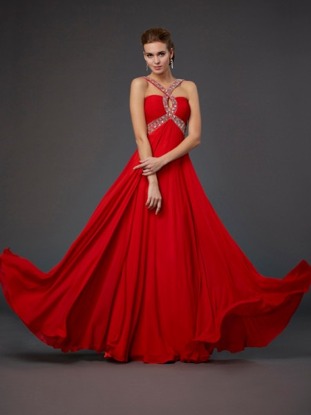 Sheath/Column Halter Sleeveless Beading Sequin Long Chiffon Dresses