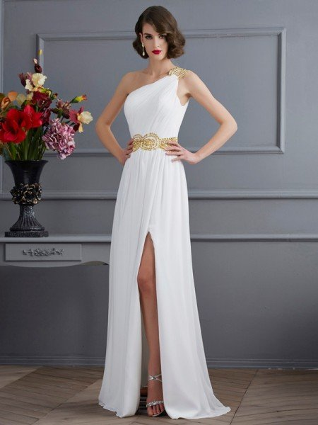A-Line/Princess One-Shoulder Sleeveless Ruched Long Chiffon Dresses
