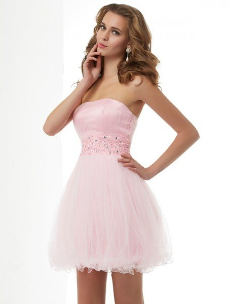 Sheath/Column Sweetheart Beading Short Elastic Woven Satin Homecoming Dresses