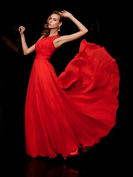 A-Line/Princess High Neck Sleeveless Pleats Long Chiffon Dresses