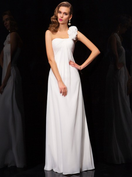 A-Line/Princess One-Shoulder Sleeveless Pleats Hand-Made Flower Long Chiffon Dresses