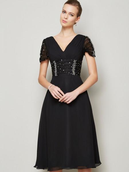 A-Line/Princess V-neck Short Sleeves Ruffles Short Chiffon Homecoming Dresses