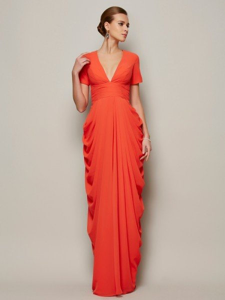 Sheath/Column V-neck Short Sleeves Pleats Long Chiffon Mother of the Bride Dresses