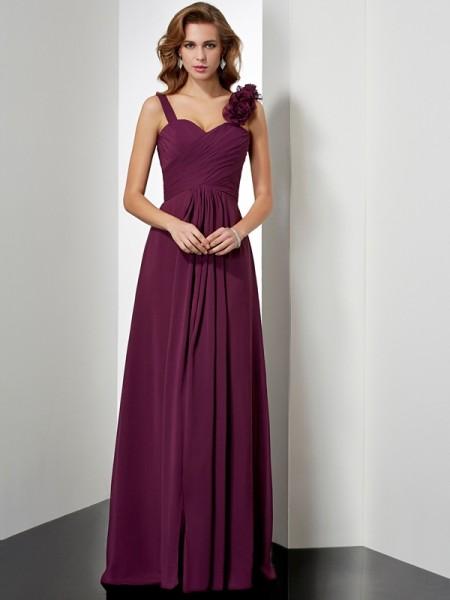 A-Line/Princess Straps Sleeveless Hand-Made Flower Long Chiffon Dresses