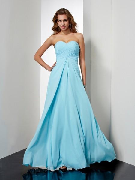 A-Line/Princess Sweetheart Sleeveless Beading Long Chiffon Dresses
