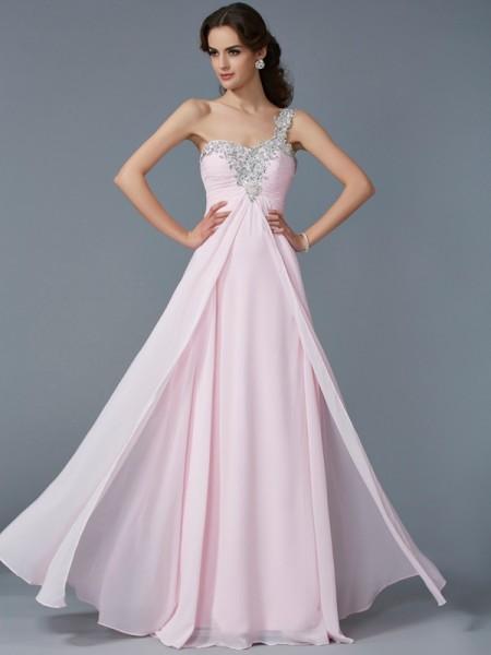 A-Line/Princess One-Shoulder Applique Sleeveless Beading Long Chiffon Dresses