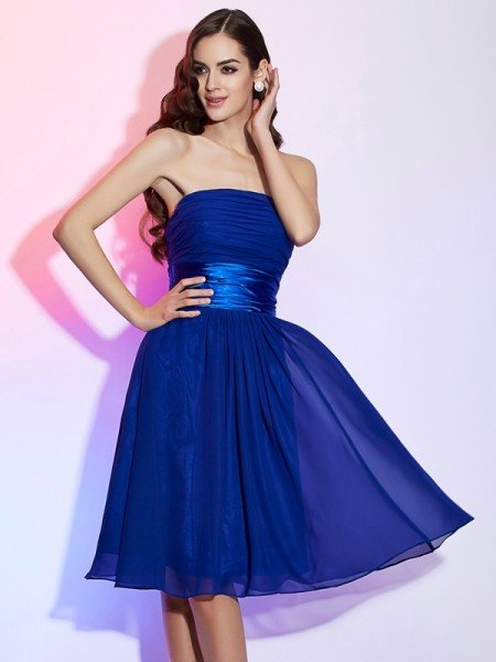 A-Line/Princess Strapless Sleeveless Bowknot Short Chiffon Homecoming Dresses