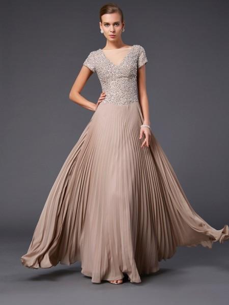 A-Line/Princess V-neck Short Sleeves Beading Long Chiffon Mother of the Bride Dresses