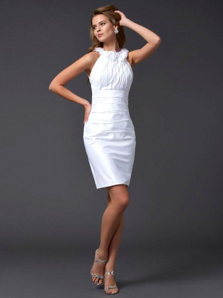 Sheath/Column High Neck Sleeveless Hand-Made Flower Short Taffeta Homecoming Dresses