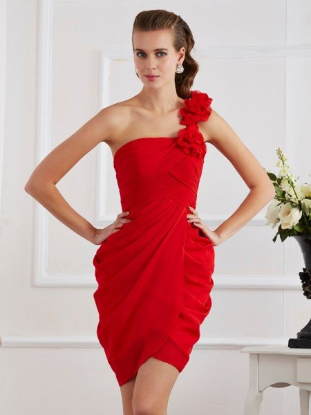 Sheath/Column One-Shoulder Sleeveless Hand-Made Flower Short Chiffon Homecoming Dresses