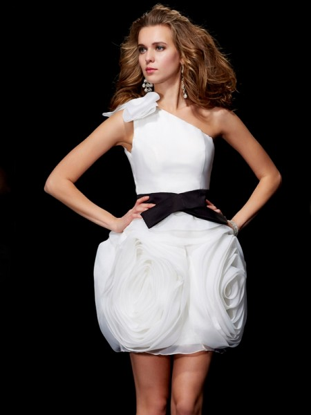 Sheath/Column One-Shoulder Sleeveless Short Tulle Homecoming Dresses