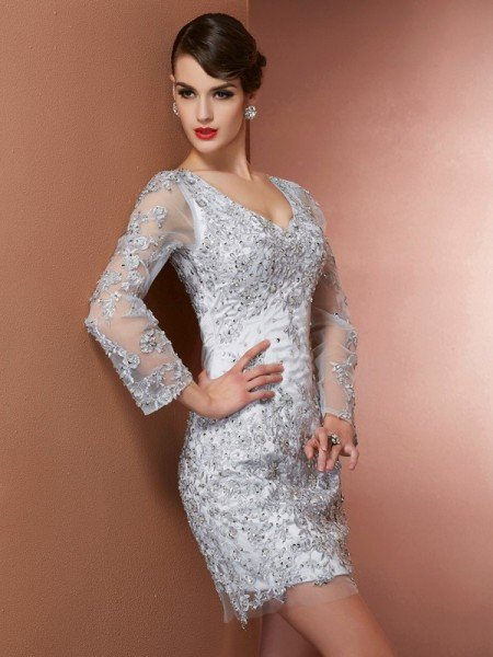 Sheath/Column V-neck Long Sleeves Beading Short Elastic Woven Satin Mother of the Bride Dresses