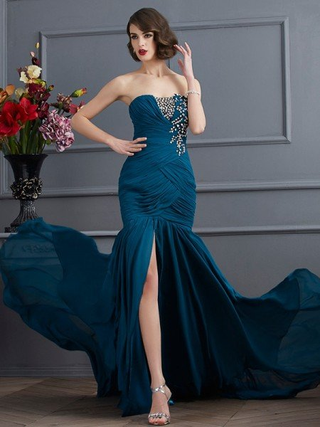 Trumpet/Mermaid Strapless Sleeveless Beading Applique Long Chiffon Dresses