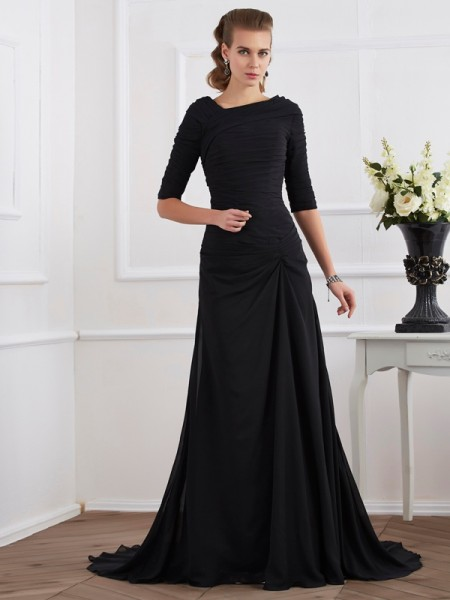 A-Line/Princess 1/2 Sleeves Pleats Long Chiffon Dresses