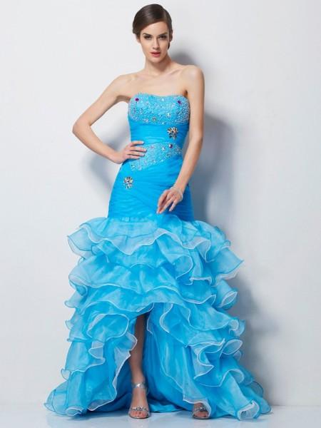 Trumpet/Mermaid Sweetheart Sleeveless Beading High Low Tulle Dresses