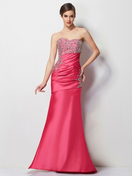Trumpet/Mermaid Sweetheart Sleeveless Beading Long Taffeta Dresses