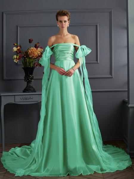 A-Line/Princess Off the Shoulder Sleeveless Long Taffeta Dresses
