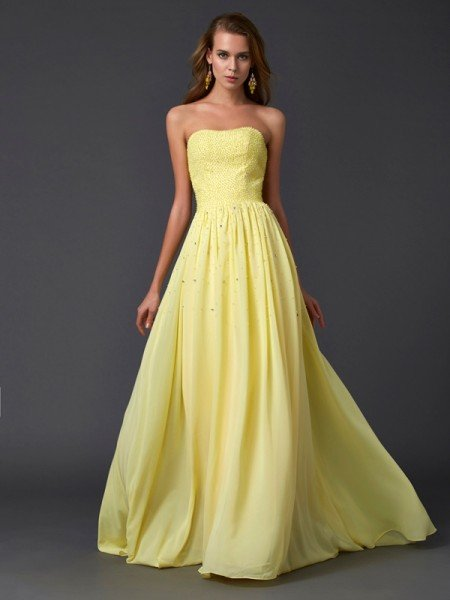 A-Line/Princess Strapless Sleeveless Pleats Long Chiffon Dresses