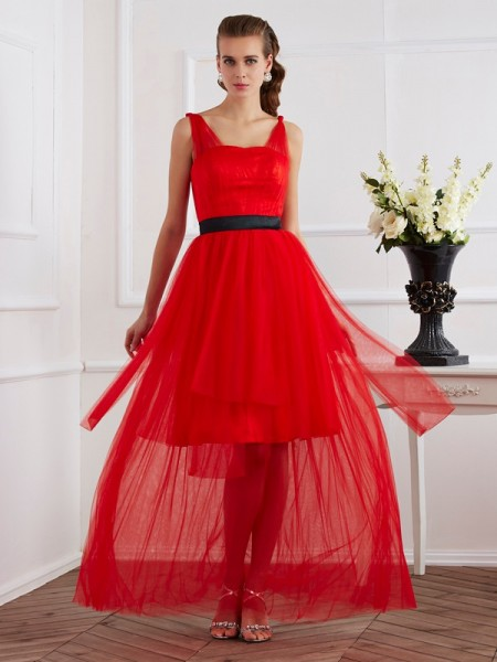 A-Line/Princess Straps Sleeveless Pleats Long Elastic Woven Satin Dresses
