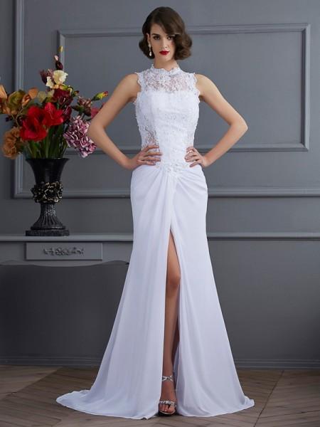 Sheath/Column High Neck Sleeveless Long Chiffon Dresses