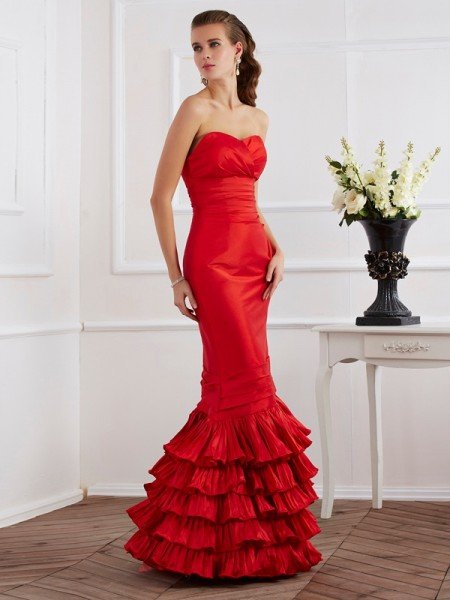 Trumpet/Mermaid Sweetheart Sleeveless Ruffles Long Taffeta Dresses
