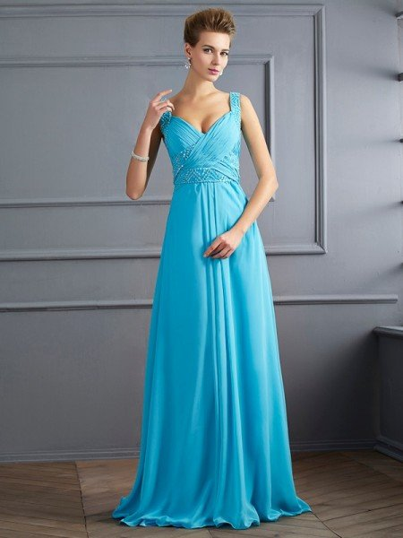 A-Line/Princess Straps Sleeveless Pleats Long Chiffon Dresses