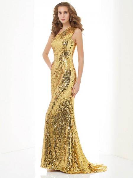 Sheath/Column One-Shoulder Sleeveless Lace Long Lace Dresses