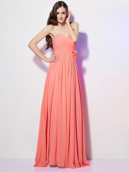 A-Line/Princess Sweetheart Sleeveless Hand-Made Flower Long Chiffon Dresses