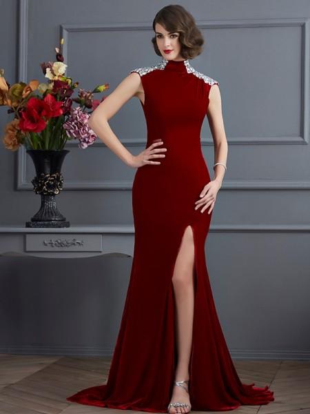 A-Line/Princess High Neck Sleeveless Beading Long Dresses