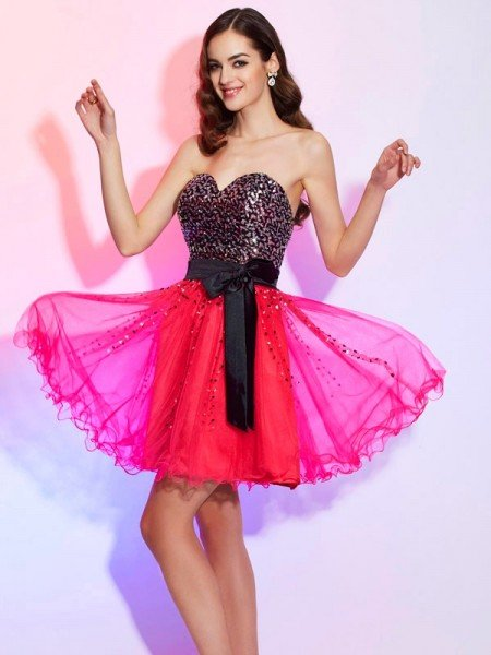 A-Line/Princess Sweetheart Sleeveless Sash/Ribbon/Belt Short Organza Homecoming Dresses