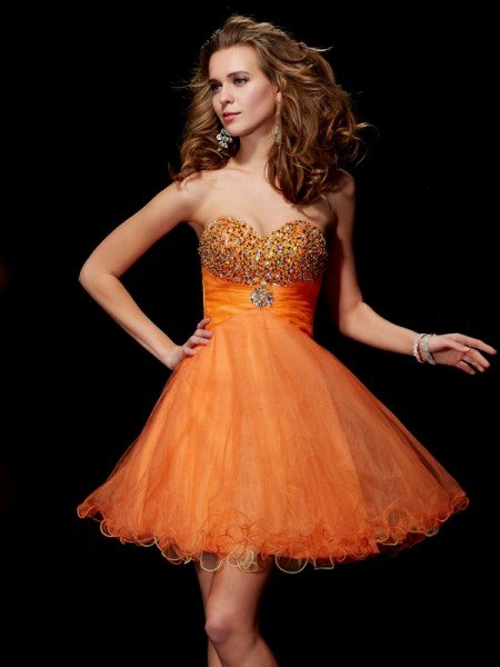 A-Line/Princess Strapless Sleeveless Beading Short Organza Homecoming Dresses