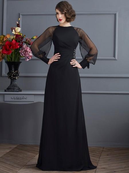 Sheath/Column Scoop Long Sleeves Beading Long Chiffon Dresses