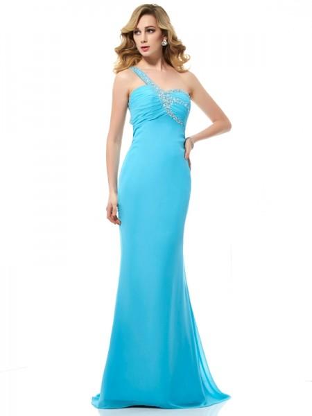 Trumpet/Mermaid One-Shoulder Sleeveless Beading Long Chiffon Dresses
