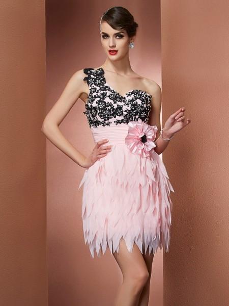 A-Line/Princess One-Shoulder Sleeveless Hand-Made Flower Short Chiffon Homecoming Dresses