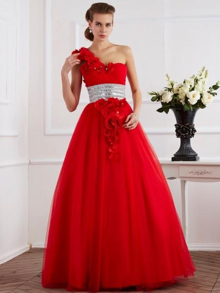 Ball Gown One-Shoulder Sleeveless Hand-Made Flower Long Net Quinceanera Dresses