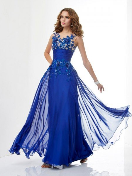 A-Line/Princess High Neck Sleeveless Beading Long Chiffon Dresses