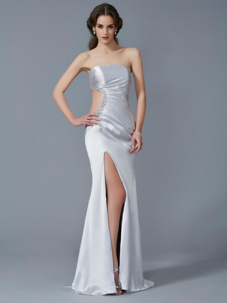 Trumpet/Mermaid Strapless Sleeveless Beading Long Elastic Woven Satin Dresses