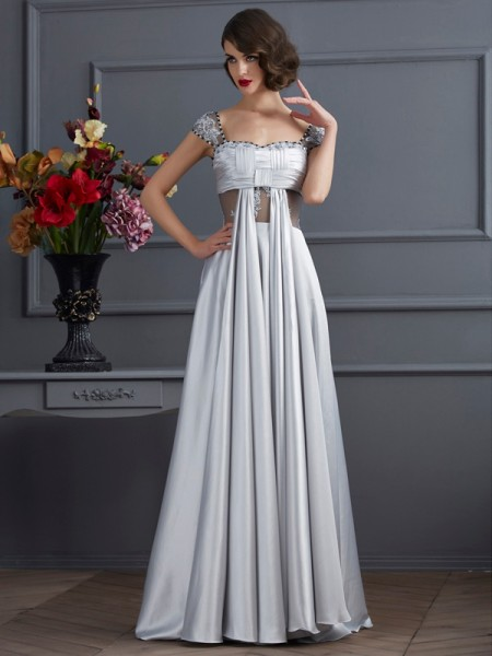 A-Line/Princess Off the Shoulder Sleeveless Pleats Long Elastic Woven Satin Dresses