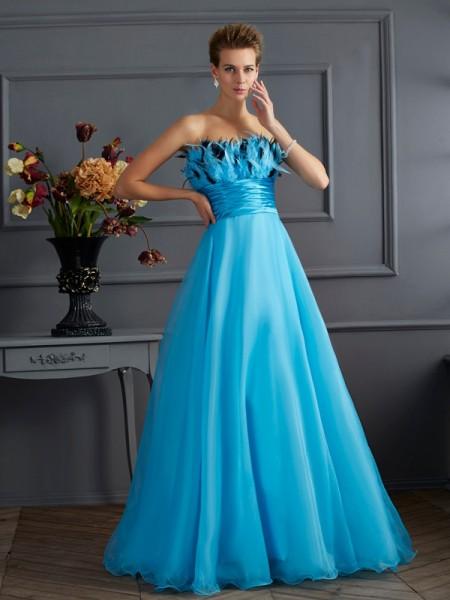 A-Line/Princess Strapless Sleeveless Long Chiffon Dresses