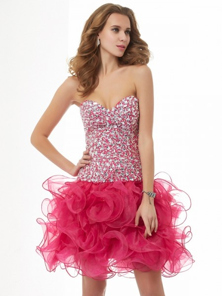 Sheath/Column Sweetheart Sleeveless Beading Short Organza Homecoming Dresses