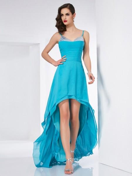A-Line/Princess Spaghetti Straps Sleeveless High Low Chiffon Dresses