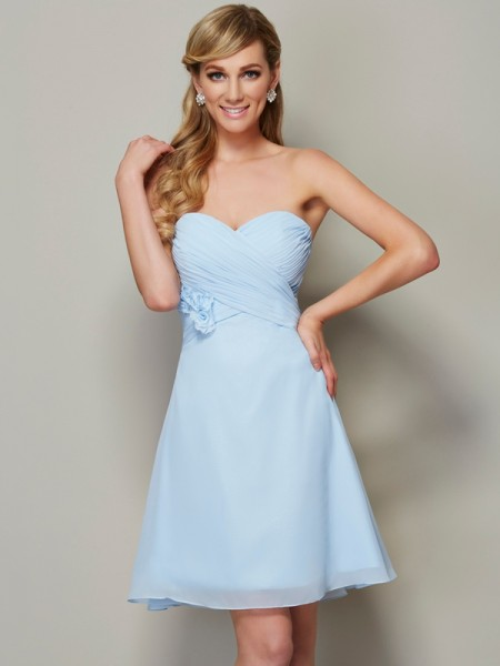 A-Line/Princess Sweetheart Sleeveless Hand-Made Flower Short Chiffon Homecoming Dresses