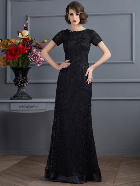 Sheath/Column High Neck Short Sleeves Lace Long Elastic Woven Satin Dresses