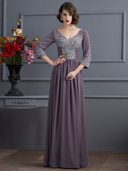 Sheath/Column V-neck 3/4 Sleeves Beading Long Chiffon Mother of the Bride Dresses
