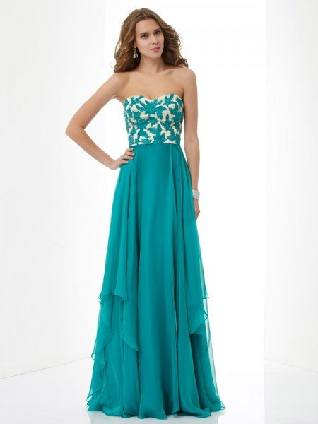 A-Line/Princess Sweetheart Sleeveless Applique Long Chiffon Dresses
