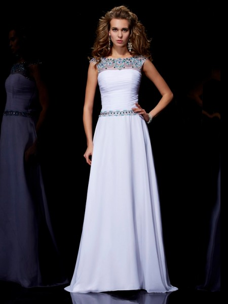 A-Line/Princess Scoop Short Sleeves Beading Long Chiffon Dresses